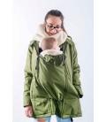 Abrigo de porteo y embarazo Wallaby 2.0 - verde y beige