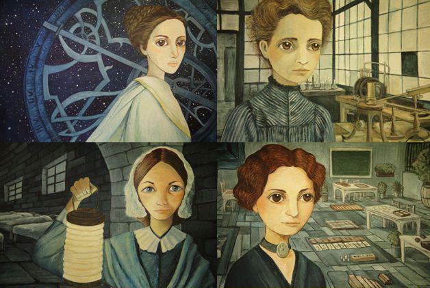 Ilustraciones de algunas de las mujeres que aparecen en el libro Mujeres